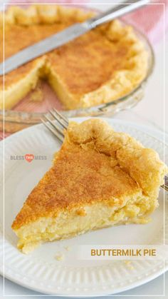 Old fashioned buttermilk pie is an easy pie recipe that produces a rich, thick, sweet custard-like center when baked. If you& expecting company soon, this buttermilk pie recipe is the best dessert to greet them with! Homemade Pie, Homemade Desserts, Fun Desserts, Dessert Recipes, Pie Dessert, Custard Pies, Custard Filling, Double Pie Crust Recipe, Lemon Pie Recipe