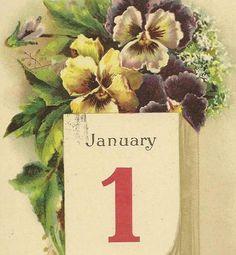 Purple Pansies and January 1st on the Calendar by TheOldBarnDoor