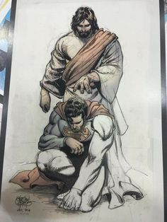Superman is blessed by Jesus Christ