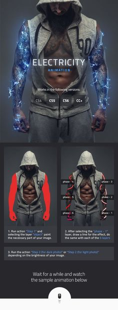 Electricity Animated Photoshop Action - Photo Effects Actions