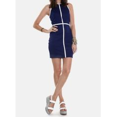 """Bodycon dress Navy blue with white stripe dress • zipper closure in the back • bust 32"""", waist 27"""", length 33"""". No size tag, fits XS, 0/2 Jack by BB Dakota Dresses"""