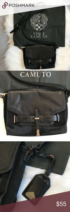 """Vince Camuto Black Calf Hair Cross Body Bag Vince Camuto Black Calf Hair Cross Body Bag - well loved, but still has a lot of life left to it! - dust bag included.  8""""L x 5""""H x 3""""W Vince Camuto Bags Crossbody Bags"""