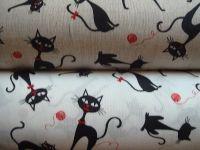 Látka so vzorom čiernych mačiek