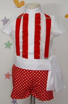 Traje de gitano flamenco para niño compuesto de pantalón en popelín rojo con lunar blanco forraado y camisa en batista blanca con chorrera y plisado rojo. Fajín blanco a juego. Tirantes no incluidos en el precio, puedes encontrarlo en nuestra sección de complementes, al igual que la gorra o boina a juego.
