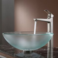 Kraus C-GV-101FR-12mm-15500 Frosted Glass Vessel Sink and Virtus Faucet