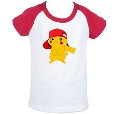 Cute Wearing A Hat Pikachu Pokemon Design Printed Kids T-Shirt Girls Boys Tops Red or Black or Blue Sleeve