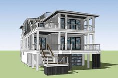 Coastal Contemporary House Plan with Rooftop Deck - Coastal Contemporary House Plan with Rooftop Deck – Beach House Floor Plans, Coastal House Plans, Cottage House Plans, Craftsman House Plans, Country House Plans, Dream House Plans, Modern House Plans, Coastal Homes, Beach House Deck
