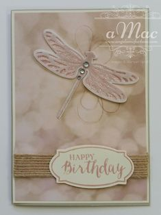 Stampin' Up! Dragonfly Dreams bundle and Falling in Love DSP Occasions Catalogue 2017 Demonstrator Angela McFarlane Using Sahara Sand Card Stock, Vellum, Copper Thread, Burlap Ribbon and Blushing Bride Ink on Very Vanilla