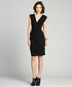 Dylan & Rose : black cap sleeve drape front dress : style # 325909501