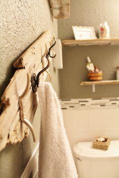 DIY towel rack- rustic!