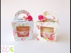 Tutorial: Scatoline porta cupcake - Cupcake Gift Box by… Porta Cupcake, Cupcake Gift, Cupcake Boxes, Cupcake Wrapper, Cupcake Packaging, Box Packaging, Cute Gifts, Diy Gifts, Boxes And Bows