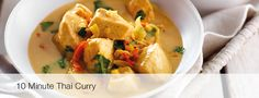 10 Minute Thai curry Serves 4 Ingredients:  - 1 tbspOlive Oil - 4 Chicken Breasts - diced  - 1 Onion – Large dice  - 1 cm Fresh ginger – finely sliced & diced - 1 cloveGarlic -peeled finely sliced & diced - 2 eRed Chilli - finely sliced - 2 tspGaram masala - 1 tsp Ground turmeric - 1 tin Coconut milk reduced fat - 2 tbspSoy sauce  - 1 tbspMango chutney  - 1 tbsp Tomato ketchup - 1 bunchCoriander fresh -Finely chopped - 1 Fresh Lime - Squeeze