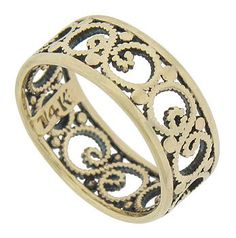 A graceful design of pressed milgrain curls around the center of this antique wedding ring. Strings of milgrain curl as romantic vines interrupted by large circles of gold. Simple rounded bands frame the elegant central design. The Art Deco wedding band is crafted of 14K yellow gold and measures 6.78 mm in width. Circa: 1930. Size 4 1/2. We cannot re-size. Antique Wedding Bands, Wedding Rings, Gold Wedding, Groom Ring, Jewelry Watches, Engagement Rings, Elegant, Yellow, Diamond