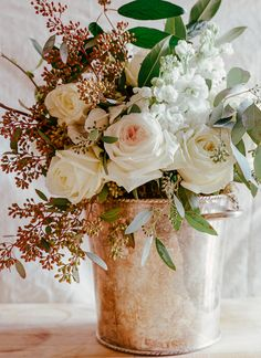 Lovely bouquet in a copper bucket.what a pretty touch. Love Rose, Love Flowers, Beautiful Flowers, Wedding Flowers, Colorful Flowers, Wedding Colors, Deco Floral, Floral Design, Stock Flower