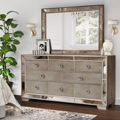 Possible Entry Way piece   Aguirre 8 Drawer Dresser with Mirror - Joss & Main