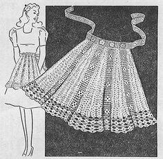 Crochet Skirt Filet Crochet Apron Pattern - half apron with flower motif and waist ties. Vintage from The Workbasket. Motif Vintage, Vintage Crochet Patterns, Vintage Knitting, Knitting Patterns, Knitting Tutorials, Loom Knitting, Free Knitting, Quilt Patterns, Stitch Patterns