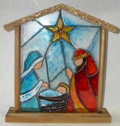 Stained Glass Ornaments, Stained Glass Christmas, Faux Stained Glass, Stained Glass Panels, Glass Christmas Ornaments, Stained Glass Patterns Free, Stained Glass Designs, Stained Glass Projects, Christmas Nativity Scene
