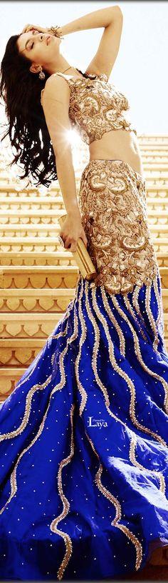 Navy blue mermaid lehenga. Indian wedding reception outfit Indian Bridal Lehenga, Indian Bridal Outfits, Indian Bridal Fashion, Indian Bridal Wear, Indian Dresses, Lehenga Wedding, Indian Clothes, Estilo India, Wedding Reception Outfit