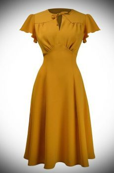 The Mustard Grable Dress is a stunning tea dress designed for dancing!, The Mustard Grable Trikot is a stunning tea dress designed for dancing! The Mustard Grable Trikot has been designed to be as faithful as possible to t. Look Fashion, Retro Fashion, Vintage Fashion, Fashion Outfits, Club Fashion, Fashion 2018, Cheap Fashion, Fashion Rings, 1940s Dresses