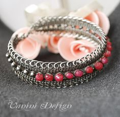 Wire wrapped sterling silver and rubies bracelet