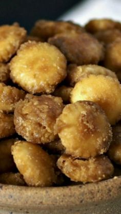 Salted Toffee Oyster Crackers ~ A layer of oyster crackers covered with toffee sauce & baked... a sweet, salty, crunchy snack.