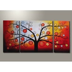 Modern Oil Painting on Canvas Stretched Framed on Wood Frame - Life Tree $125.00