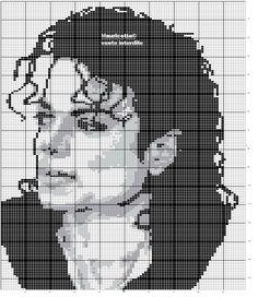 Free Cross Stitch Pattern - Michael Jackson Chart Beaded Cross Stitch, Crochet Cross, Crochet Chart, Cross Stitch Embroidery, Loom Patterns, Beading Patterns, Cross Stitch Designs, Cross Stitch Patterns, Cross Stitch Silhouette