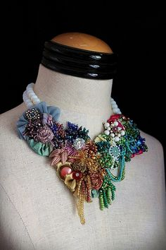 ROSE GARDEN Mixed Media Floral Beaded Textile Necklace. $345.00 carlafoxdesign, via Etsy.  Just goegeous!!