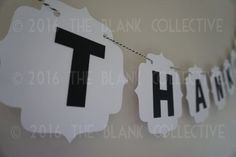 THANK YOU BUNTING handmade from quality 200gsm card stock with letter blocks connected by beautiful bakers twine