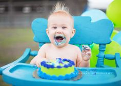 Alexandra Feild Photography   funny cake smash session, 1st birthday boy