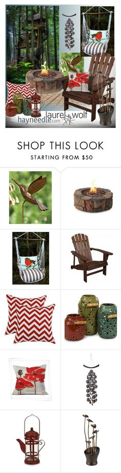 """""""Birdwatcher Tree-house Dream"""" by fortyandlovingit ❤ liked on Polyvore featuring interior, interiors, interior design, home, home decor, interior decorating, Magnolia Casual, DENY Designs, Fountain and contestentry"""