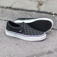 73ef51d543 Vans Classic Slip-On (Checkerboard) Black Grey Slip On Vans