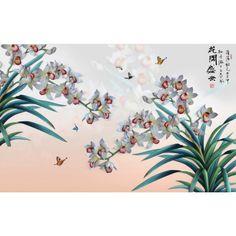 tapisserie numérique 3D sur mesure style asiatique orchidée