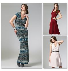 """M6433 Misses' Dresses In 3 Lengths  McCall's Patterns   Fitted, lined bodice, front and back darts, stitched shoulder pleats, back zipper and self lined cap sleeve. A,B: A-line skirt, stitched pleats, C: Straight skirt, back slit. Optional purchased belt. Designed for lightweight woven fabrics. Also, Dress C: Stable Knits. SUGGESTED FABRICS: Crepes, Challis. Also, C: Jersey. NOTIONS: A,B,C: 22"""" Zipper, One Hook & Eye. C: 1/2"""" Seam Binding."""
