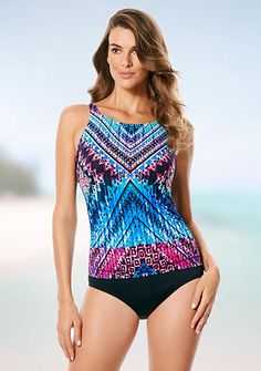 51a937470ed75 Jantzen Womens Mosaic High Neck One Piece Swimsuit