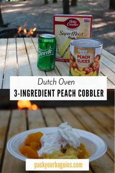 Easy, Dutch Oven Peach Cobbler - - Easy, 3 ingredient dutch oven peach cobbler recipe-- perfect for camping! Camping Desserts, Camping Meals, Camping Recipes, Family Camping, Camping Dishes, Camping Cooking, Camping Checklist, Camping Tips, Backpacking Meals