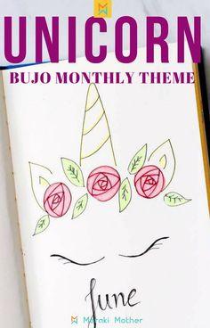 Unicorn bujo monthly theme #unicorn #bulletjournal #monthlyspread