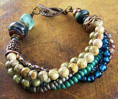 Teal Lampwork Bracelet Rustic Copper Multi Strand OOAK | ChrysalisJewelry - Jewelry on ArtFire #BohemianJewelry