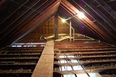 This is basically what our attic looks like now...other than the area open to below. Attic Master Bedroom, Master Suite, Attic Renovation, Attic Spaces, Attic Remodel, Master Bedroom, Loft Spaces