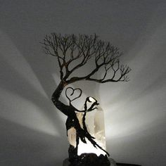 Wire Tree Of Life sculpture Tree Spirit Quartz Crystal LED