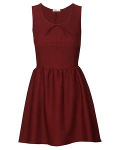 Sleeveless Textured Skater Dress in Burgundy £ 8.95 #chiarafashion