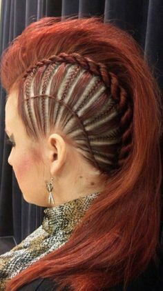 Long hair faux hawk with braids. Amazing