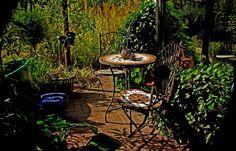 Mein sonniges Herbstplätzchen im Garten,  ... wird noch etwas genutzt. Für ein schnelles Tässchen Kaffee reicht es allemal. Zumindest gestern und heute, Und dann schauen wir mal, was der Wetterbericht so meint. :-)