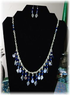 23 necklace and earrings. Made from sapphire blue AB rondelle crystals, small flat round abalone , silver plated engraved flat rounds and spacers, tiny silver plated rounds and silver pla. Jewelry Sets, Jewelry Making, Adult Crafts, Blue Skies, Blue Sapphire, Handmade Jewelry, Sky, Jewels, Crystals