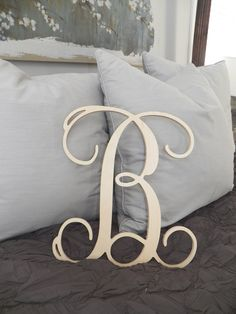 """READY 2 ship TODAY 16 inch Beautiful Wooden Single Initial Letter """"B"""" Wall Monogram. $19.95, via Etsy."""