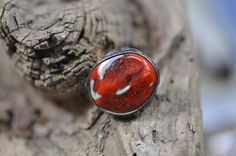 statement ring ceramic ring red ring  gift for her by zolanna