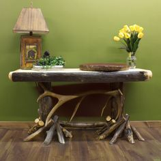 Aspen and Elk Antler Log Sofa Table - Antler & Hunting Decor