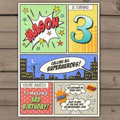 Superhero birthday invitation Superhero party door Anietillustration