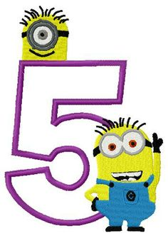 Despicable Me Minion with Number Five Applique Embroidery Design