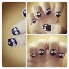 Spooktacular Nails continues with day Try these creepy peepers and everyone will have their eyes on you! What you need: Black nail polish Googly eyes (the smallest ones you can find) What you'll do: Paint one of your. Love Nails, Pretty Nails, Crafts To Do, Diy Crafts, Scary Nails, Black Nail Polish, Mani Pedi, Creepers, Moving Eyes